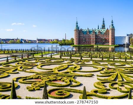 Park and Palace Frederiksborg Slot, Hillerod, Denmark - stock photo