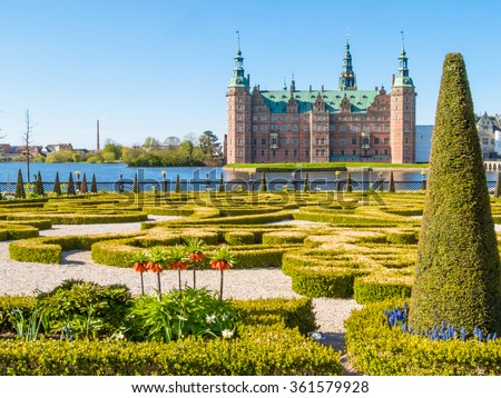 Park and Palace Frederiksborg Slot, palace in Hillerod, Denmark - stock photo