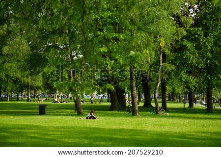 Park and recreation area in the city of Lucerne. Switzerland, Europe. - stock photo