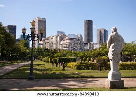 Park and skyline of Rio de Janeiro city center - stock photo
