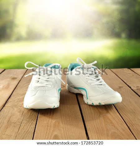 park and white shoes  - stock photo