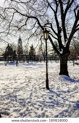 Park at winter - stock photo