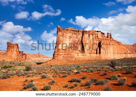 Park Avenue and the Courthouse Towers at Arches National Park, Utah, US - stock photo