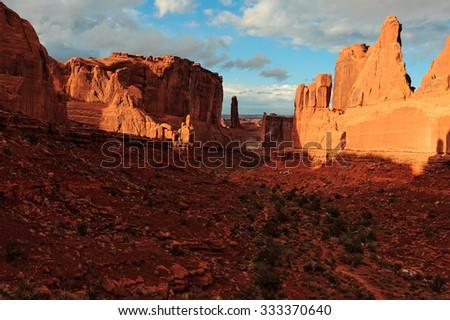 Park Avenue, Arches National Park, Moab, UT, USA - stock photo