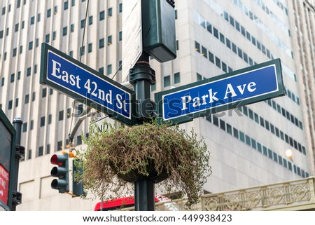 Park Avenue street sign New York.