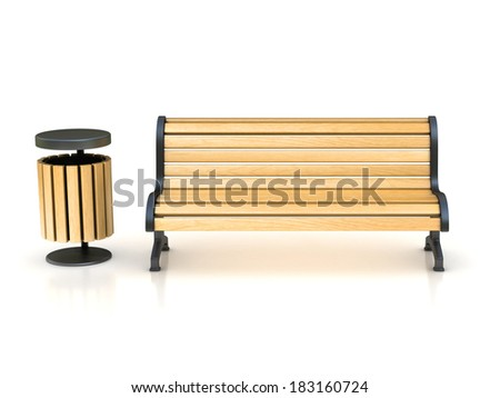 park bench and trash can - stock photo