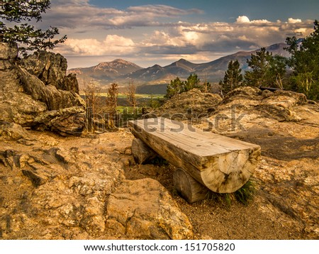 Park bench in Rocky Mountain National Park, Colorado - stock photo