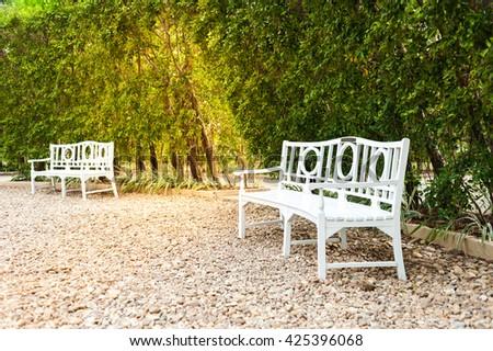 Park Bench in the Morning Light - stock photo