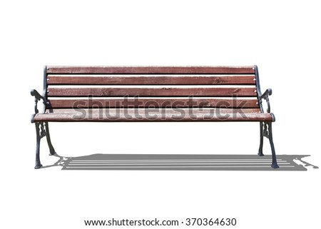 park bench isolated on white - stock photo