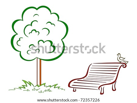 Park bench with a small bird costs under a green tree - stock photo