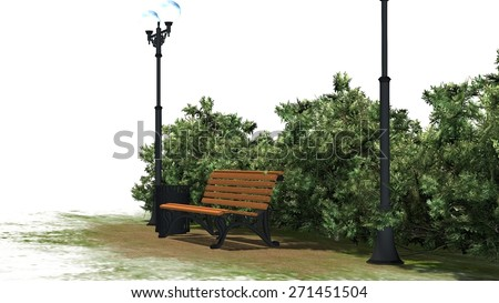 Park bench with street lantern, grass and bushes  - separated on white background - stock photo