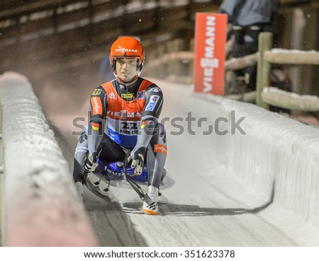 PARK CITY, UT - DEC 12: Johannes Ludwig at the FIL Viessmann Luge World Cup in Park City, UT on December 12, 2015