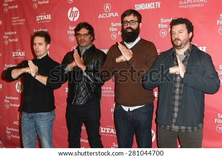 "PARK CITY, UT-JAN 28: (L-R) Sam Rockwell, Jemaine Clement, Jared Hess and Danny McBride attend the ""Don Verdean"" premiere during the 2015 Sundance Film Festival on January 28, 2015 in Park City, Utah. - stock photo"