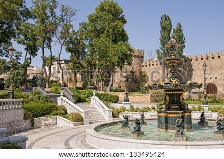 Park downtown Baku - stock photo