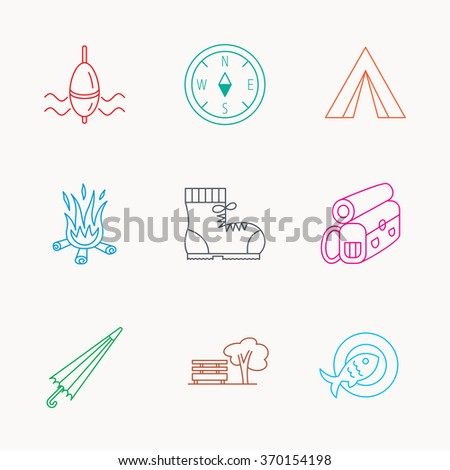 Park, fishing float and hiking boots icons. Compass, umbrella and bonfire linear signs. Camping tent, fish dish and tree icons. Linear colored icons.