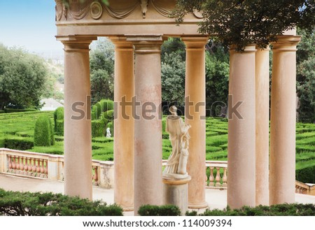 Park gazebo Italian style column.  Gazebo with Classic Column in Labyrinth Park in Barcelona. Spain, Catalonia - stock photo