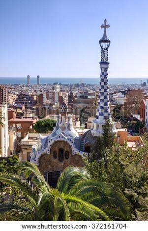 Park Guell, Barcelona, Spain.  - stock photo