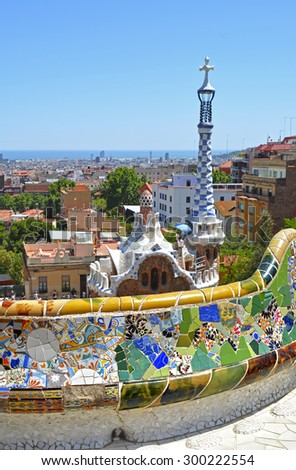 Park Guell By Architect Antoni Gaudi Stock Photo 300222554