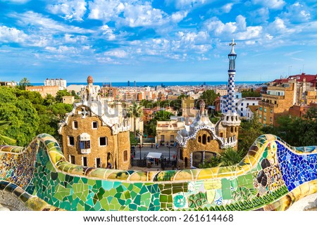 Park Guell by architect Gaudi in a summer day  in Barcelona, Spain. - stock photo
