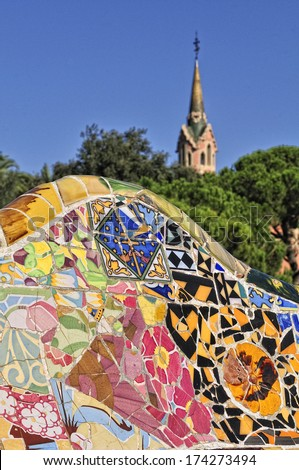 Park Guell closeup, Gaudi style architecture, Barcelona, Spain - stock photo