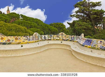 Park Guell in Barcelona­. Representative of modernism architecture - stock photo