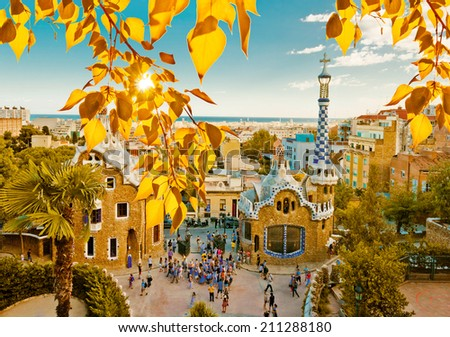 Park Guell in Barcelona, Spain (built in the years 1900 to 1914) - stock photo