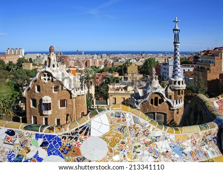 Park Guell is one of the landmarks of Barcelona and was designed by Antonio Gaudi - stock photo