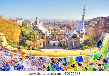 Park Guell is the famous architectural ceramic art designed by Antoni Gaudi in the city of barcelona, Spain