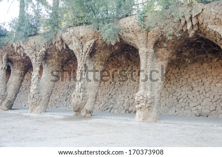 park guell tourist attractions in Barcelona, �¢??�¢??Spain. - stock photo