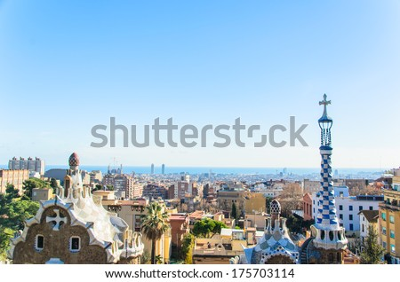 park guell tourist attractions in Barcelona Spain. - stock photo