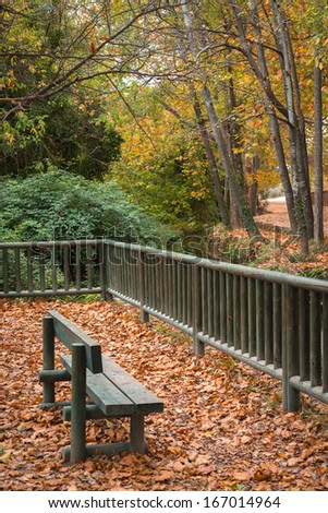 Park in autumn with a wooden fence and a bench