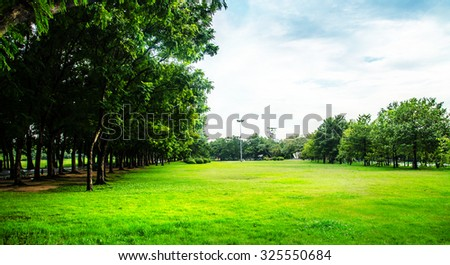 park in city landscape , golf field or golf course - stock photo