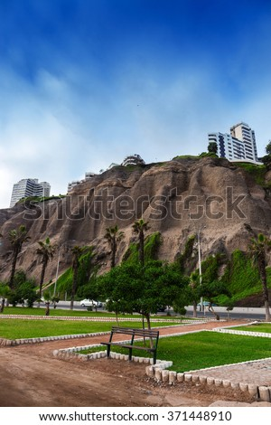 park in front of the cliffs in Lima, Peru - stock photo