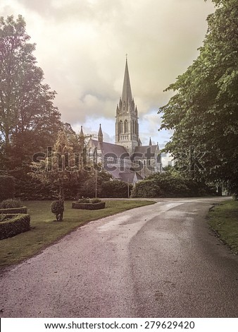 Park in front of the St. Mary's Cathedral, Killarney, Ireland  - stock photo