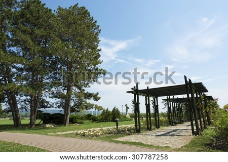 Park in Keszthely at Lake Balaton, Hungary - stock photo
