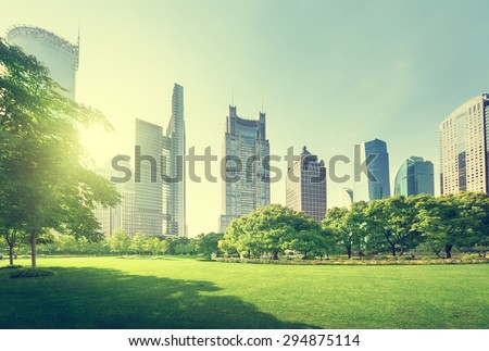 park in lujiazui financial center, Shanghai, China - stock photo