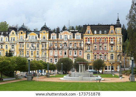 Park in Marienbad in the spring - stock photo