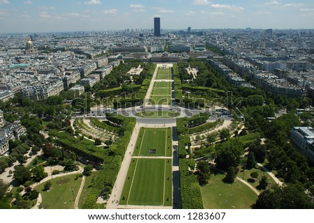 Park in the front of Eiffel tour - stock photo