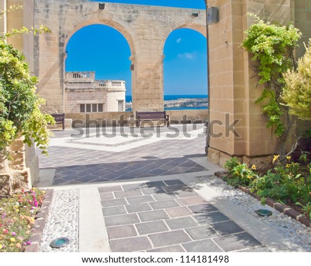 Park in Valletta, capital of Malta. Historical, heritage place. - stock photo