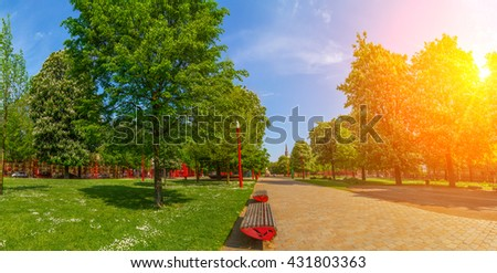 Park Jean-Baptiste Lebas in Lille France during sunny day