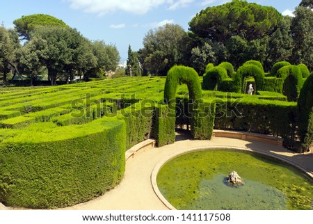 Park Labyrinth and sculpture in Barcelona, Spain, Catalonia - stock photo