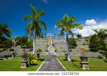 Park of Taman Ujung Water Palace at East Bali - stock photo