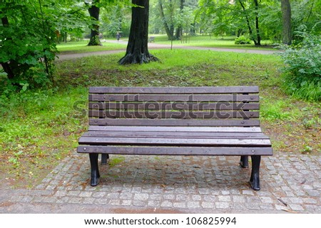 Park on rainy day - stock photo