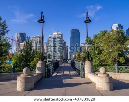 Park pathway in urban core of Calgary, Alberta.  - stock photo