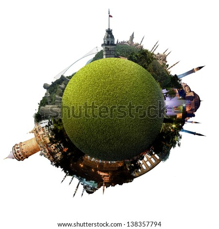 Park planet of Istanbul - Miniature planet of Istanbul, Turkey, with all important buildings and attractions of the city - grassy park globe - stock photo