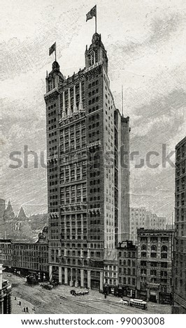 """Park-Row - highest building in New York. Engraving by  Rashevsky. Published in magazine """"Niva"""", publishing house A.F. Marx, St. Petersburg, Russia, 1899 - stock photo"""