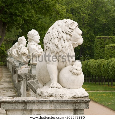 Park sculpture, lion, busts. Arkhangelskoye, Moscow region. XVIII century. - stock photo