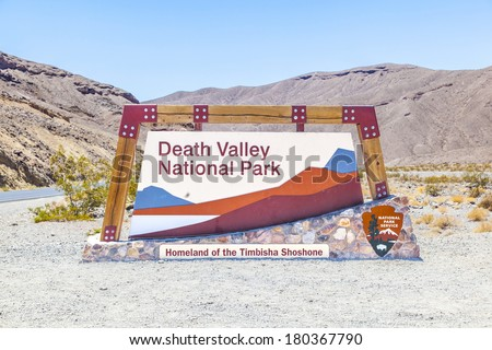 park sign death valley national park on a sunny day - stock photo