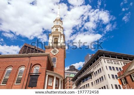 Park Street Church in Boston MA - stock photo