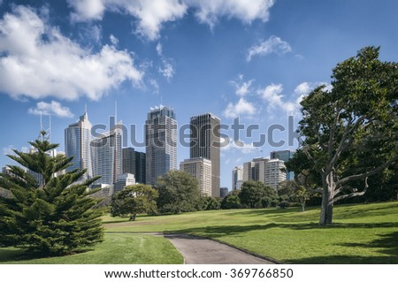 Park view of the Sydney Skyline, Australia